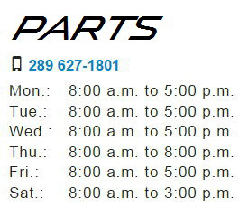 Parts Department Hours